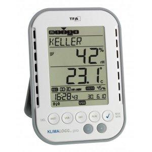 Profesionálny bezdrôtový záznamík teploty a vlhkosti TFA 30.3039 KLIMALOGG PRO s certifikátom o kalibrácii pre chladný sklad v bodoch: 2, 6, 10 °C / 50, 70, 90 %
