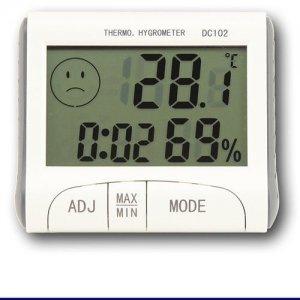 Vlhkomer s teplomerom DC 102 pre suchý sklad s certifikátom o kalibrácii v bodoch +10, 20, 30 °C / 30, 50,70 %